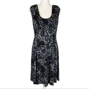Calvin Klein Floral Pleated Cocktail Scarf Dress